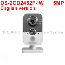 DHL Free shipping DS-2CD2452F-IW English version 5MP IR mini cube cctv security POE camera, wireless ip camera