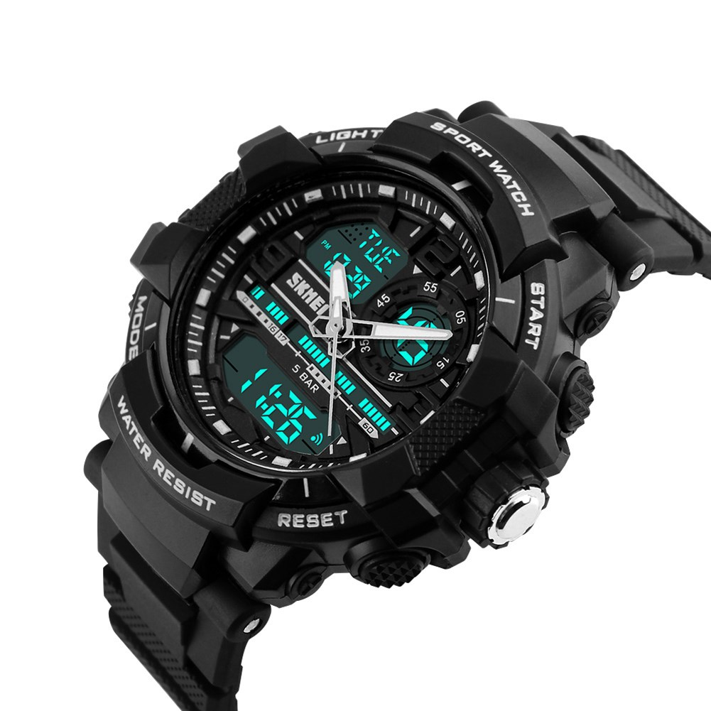Black sport quartz watch digital movement LED display dual time men wristwatch 50M water resistant light week display watches hoska hd030b children quartz digital watch