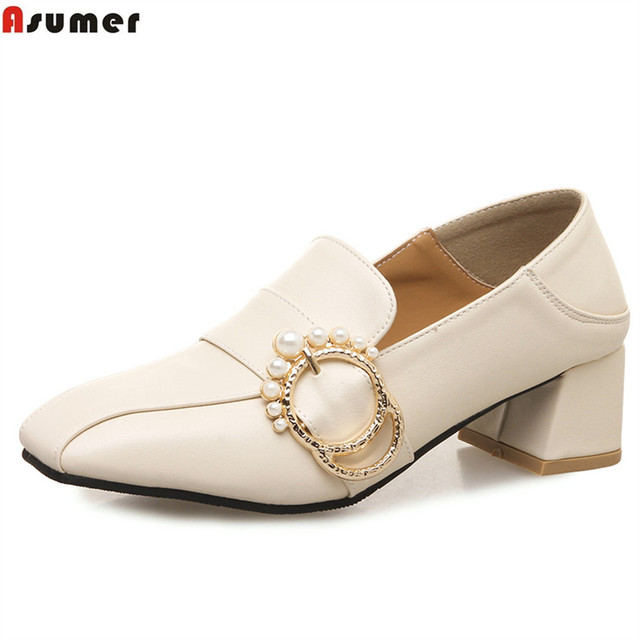 a9b7116ad75 US $26.0 48% OFF|ASUMER beige black square toe fashion spring autumn ladies  dress shoes square heel women med heels shoes plus size 32 46-in Women's ...