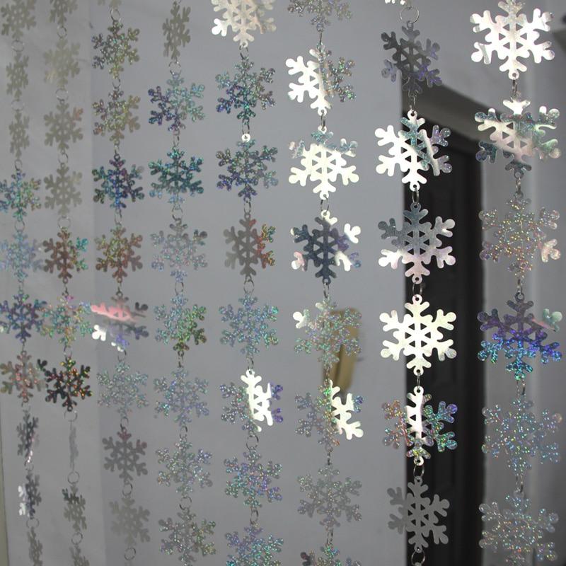 Navidad decoración de interiores copo de nieve lentejuelas cortina fiesta decoración del árbol de Navidad colgante