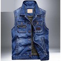 New Men's Denim Vest Light Waistcoat Men Slim Jeans Coat Fashion Brand-clothing Vests chaleco hombre