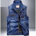 Nuevos hombres de Mezclilla Chaleco Ligero Chaleco de Los Hombres Delgados Jeans de Moda Abrigo Marca de ropa Chalecos chaleco hombre