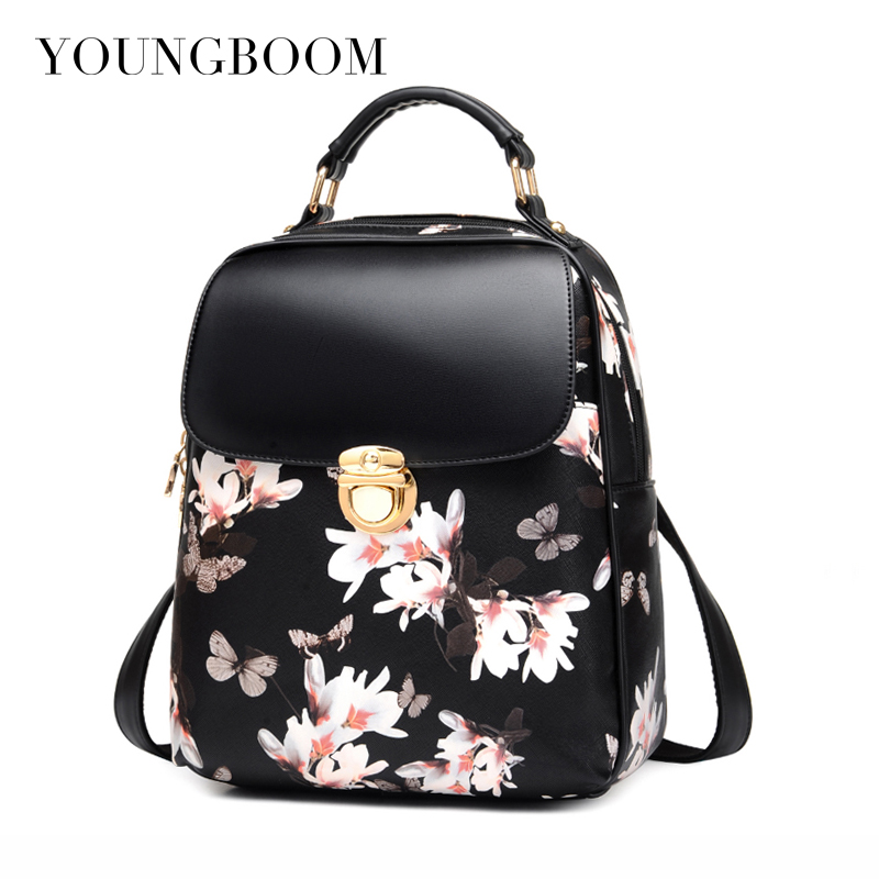 Youngboom Floral Printing Backpack Simple Casual Flower Butterfly Zipper Mini Leather School Bags For Girls Women