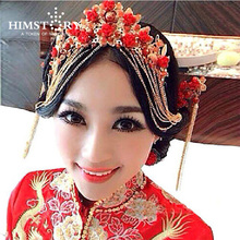 HIMSTORY Vintage Chinese Traditional Wedding Jewelry Adorn Hair Accessories Queen Hanfu Fine Pageant Phoenix Coronet Tiaras himstory luxurious vintage chinese traditional wedding jewelry adorn queen tibetan style pageant phoneix coronet tiaras