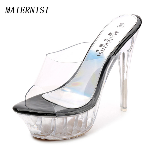 66e266f93e1 Summer Women Shoes Platform Slingback Mules Clear PVC Transparent High  Heels Sandals Peep Toe Stiletto High Heel Pumps Plus Size