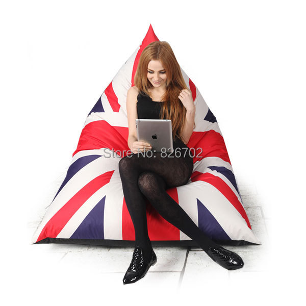 123X115X90CM British Flag Style Outdoor Bean Bag Chair Garden Camping Beanbags Cover Lazy Sofa Anywhere Portable