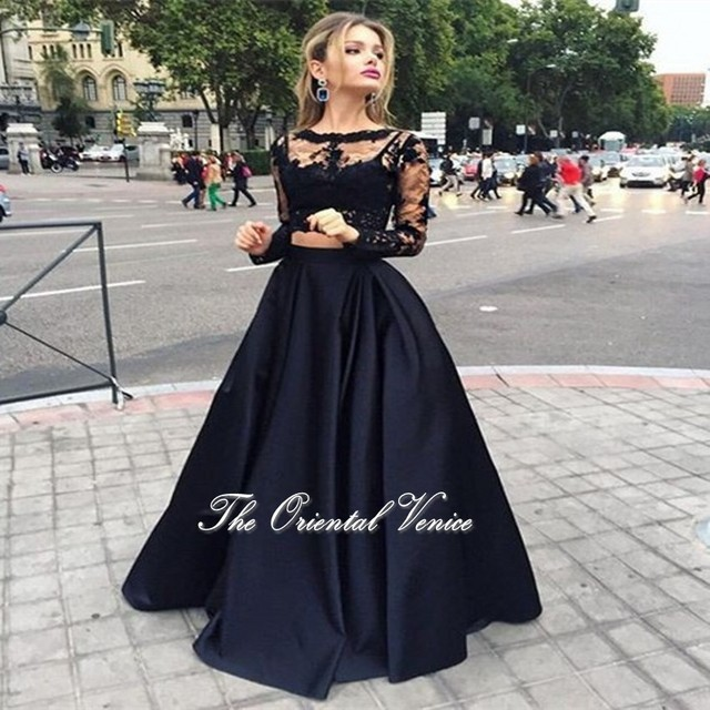Aliexpress.com : Buy 2017 Black Lace Two Pieces Prom Dresses Long ...