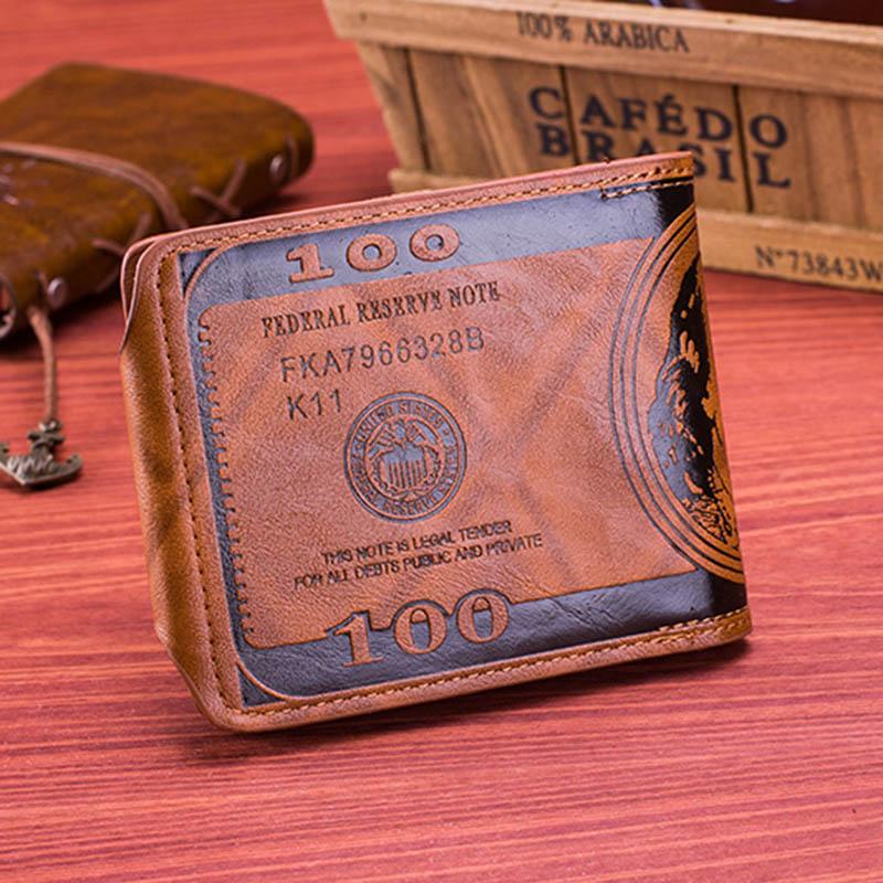 Men Vintage Wallet PU Leather Dollar Pattern Designer Men's Wallets Casual Credit Card Holder Purse Wallet For Male Money Bag (7)