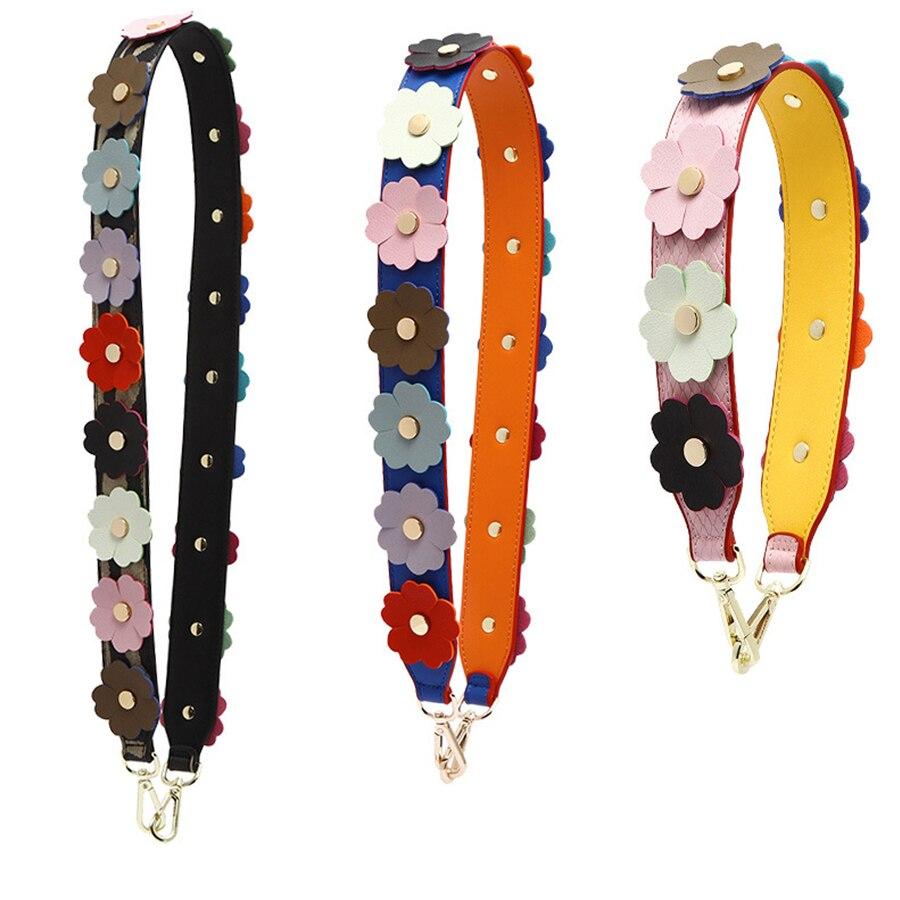 Fashion 3D Colorful Flower Strap You Bag Straps Women Luxury Brand Pu Leather Bag Part Multicolor Shoulder Bags Belts Bolsa Part