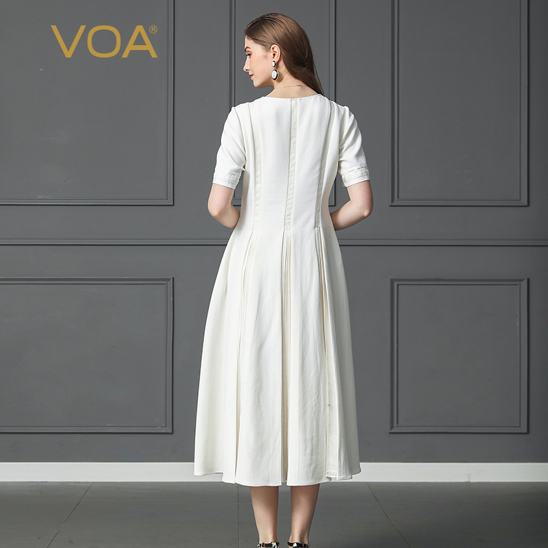 VOA Silk Dress Solid White Swing Office amp Casual Short Sleeve Party Long Dress A170 in Dresses from Women 39 s Clothing