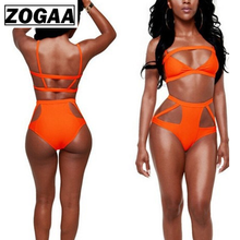 ZOGGA Sexy Solid Orange Bikinis Belt Low Waist Wire Free Women Suits High-quality Polyester Nylon 2 Piece Womens Sets