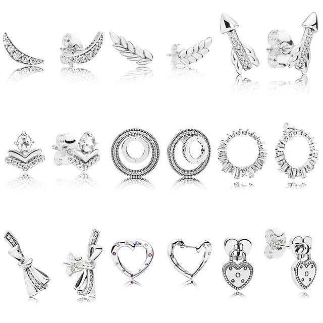 9 Style 1 Pair 925 Sterling Silver Ear Studs Charm Arrow Bow Heart High Quality Earrings for Women Wedding Jewelry Gift