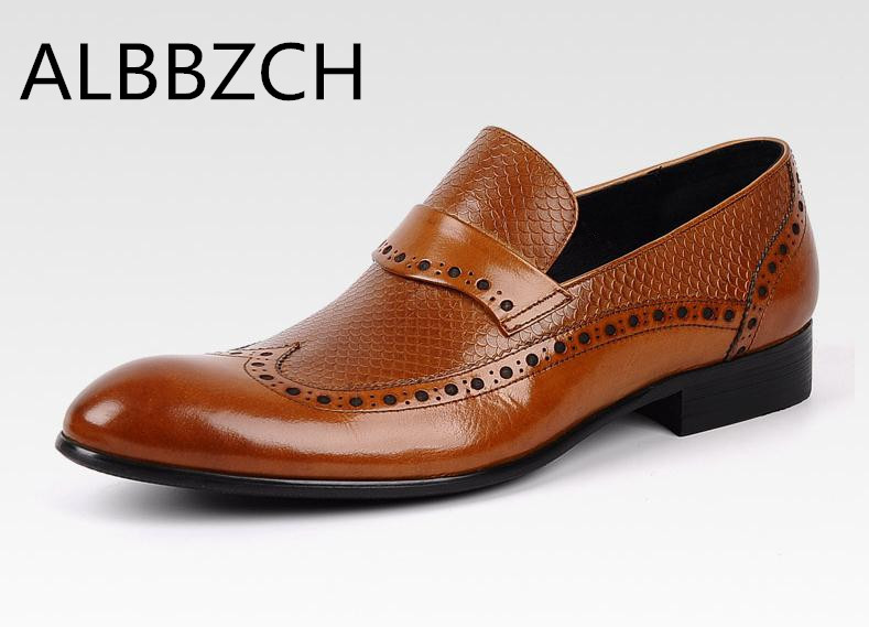 New business dress genuine leather shoes men real cow leather black brown wedding shoes man fashion