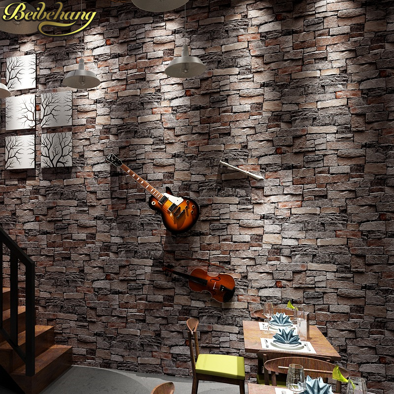 beibehang New 3D Luxury Wood Blocks Effect Brown Stone Brick 10M Vinyl Wallpaper Roll Living Room Background Wall Decor Art beibehang dining room 3d wall paper roll stone brick design background vinyl wallpaper roll modern for living room wallcovering