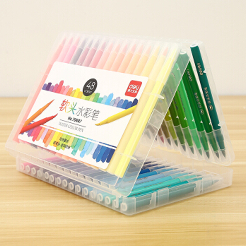 Deli colored pen 12 24 36 48 colors washable ink soft head fiber brush watercolor pens good quality colored bush set art marker in Art Markers from Office School Supplies