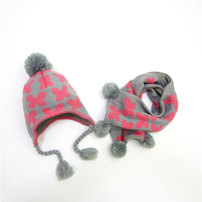 Clever Winter Accessories Hat And Scarf Set For Baby Gir Lovly Style Children's Acrylic / Artificial Wool Warm Butterfly Pattern Scarf Lustrous