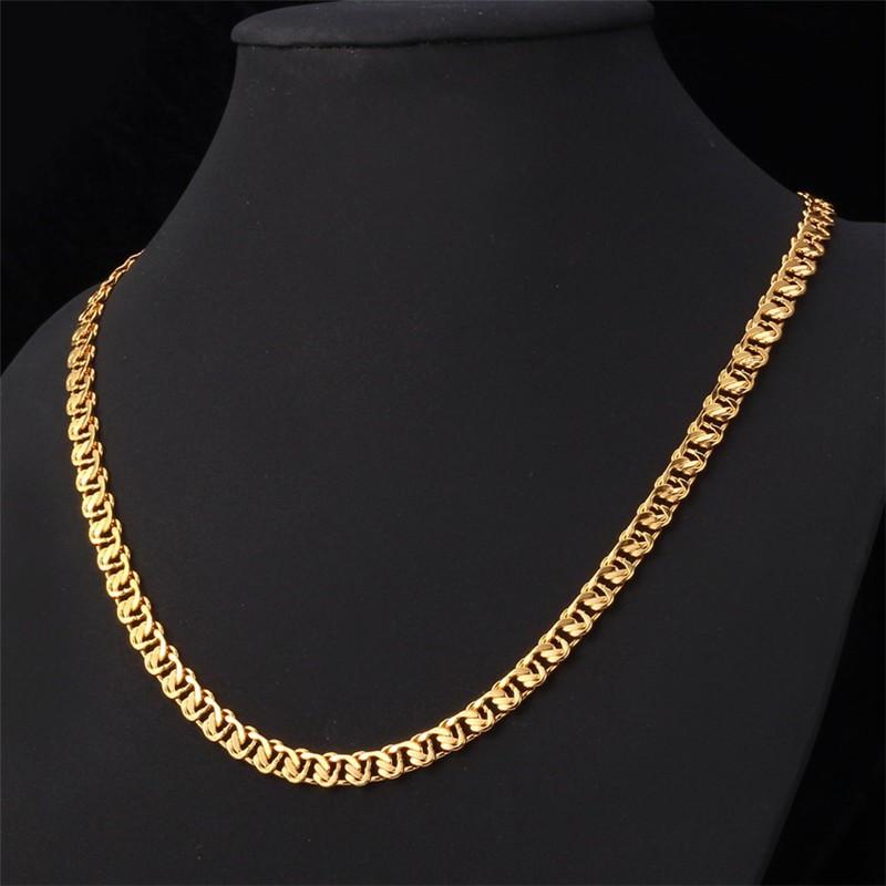 HTB16HpFHpXXXXbUXXXXq6xXFXXXO - U7 Unique Necklace Trendy Gold/Silver Color Chain Necklaces Men Jewelry N377