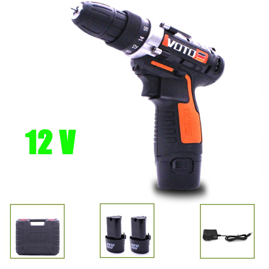 VOTO 2*Battery Rechargeable Cordless Drill Electric Screwdriver Set Lithium Power Tools Screw Gun Driver With Case Orange 12V VT цены онлайн
