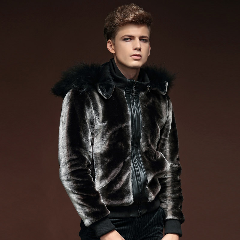 Free Shipping New fashion male Men's winter New hooded detachable fur leather coat men shirt 14118 On Sale fanzhuan