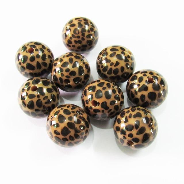 Neueste 20mm 100 pcs/lot Chunky Acryl Braun Leopard gedruckt Perlen