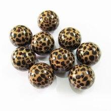 Yeni 20mm 100 adet/grup tıknaz akrilik kahverengi leopar baskılı boncuk