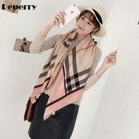 Для женщин шарф дизайнер Элитный бренд в клетку и полоску толстый Шелковый шарф весна теплые Шарфы для женщин банданы Головные уборы шалей ...