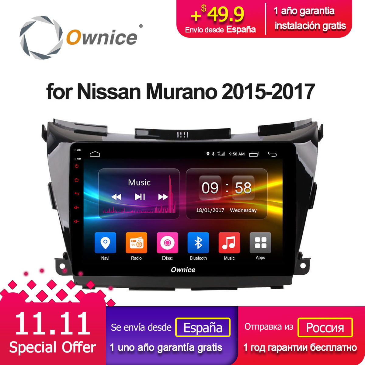 10.2 inch Ownice C500+ DVR Octa core Android 8.1 Car DVD Player GPS navi for NISSAN Murano 2015 2016 2017 multimedia auto stereo special dvr without battery for ownice c500 car dvd and the dvd manufacture date must after 10th of april 2017 included 10th