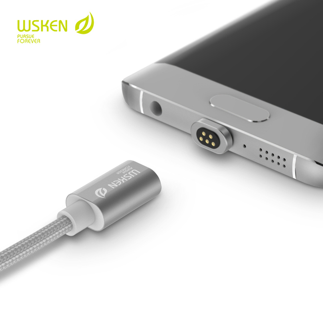 Wsken cabo magnética para iphone e android, criatividade xiaomi samsung para i6 carregador magnético para micro usb e iphone 6 s plus