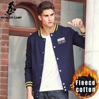 Pioneer Camp Thicken Fleece Hoodies Men Brand Clothing Top Quality Button Jacket Male Autumn Winter Warm