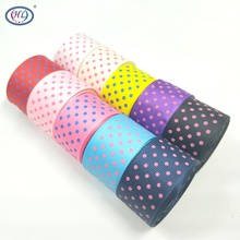 25MM 5yards/10yards printed dots grosgrain ribbon wedding christmas decorative gift box wrap belt DIY crafts 10 colors A067