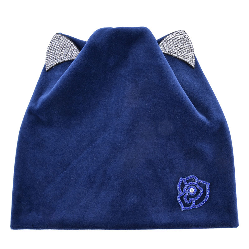 Rhinestone Autumn Winter Knitted Beanies Skullies For Women Outdoor Slouchy Bonnet Casual Cat Ear Flower velvet Hat Caps