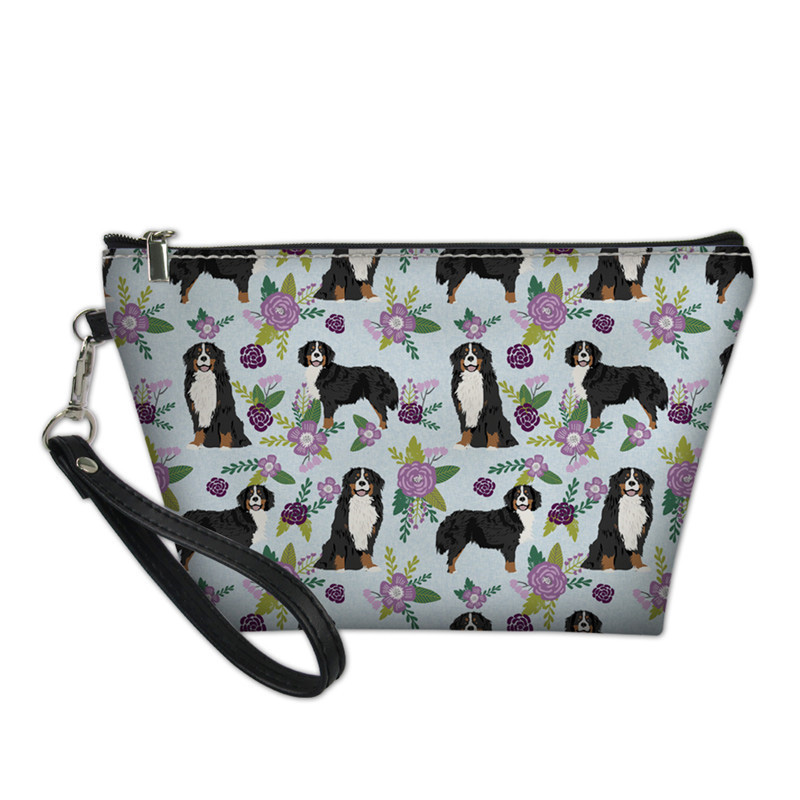 NOISYDESIGNS Bernese Mountain Dog Pet Travel Makeup Beauty Bag Cosmetic Case Women Handbag Storage Organizer Pouch Feminina