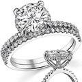 LASAMERO Round 2ct Round ASCD Simulated Diamond Halo Pave Set Accents Engagement Ring 925 Silver Bridal Wedding Set
