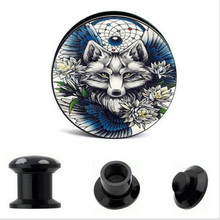 2PCS Trendy Acrylic Wolf Ear Gauge Taper And Plug Stretching Kits Flesh Tunnel Women Men Expansion Body Piercing Jewelry