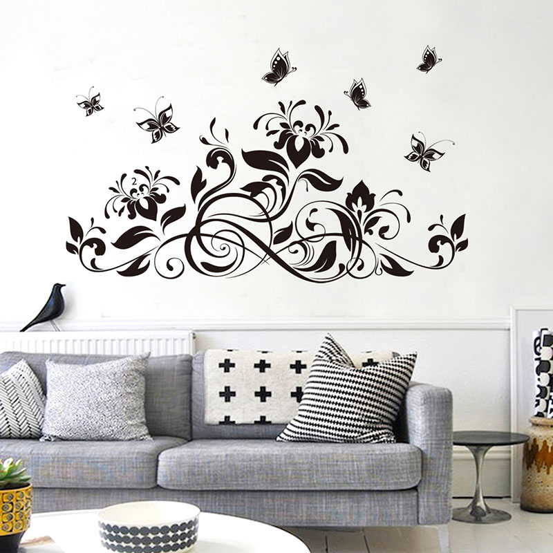 Black 20 x 30 Design with Vinyl RAD 877 3 Love Blooms Here Flower Design Quote Wall Decal