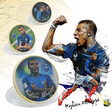 WR 5PCS France Football Star Kylian Mbappe Gold Coins Original Replica Coin Collectibles for Sport Souvenir Birthday Gifts(China)