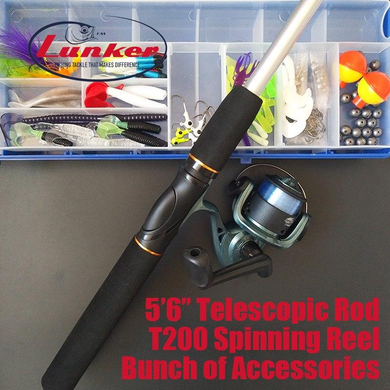 Canne à pêche télescopique combo moulinet filature kit complet ligne leurres crochets têtes de gabarit poids pivote tubes grubs