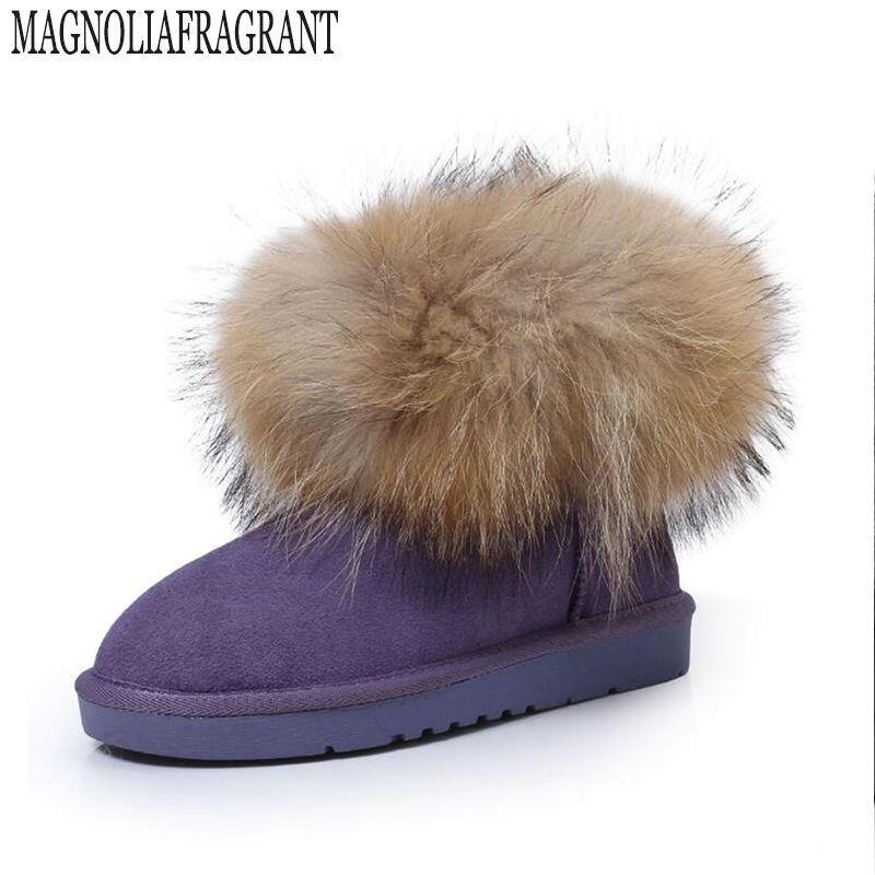 fashion Genuine Leather big fox fur girls winter short ankle snow boots for women winter flats shoes high quality Winter boots k 1180 30