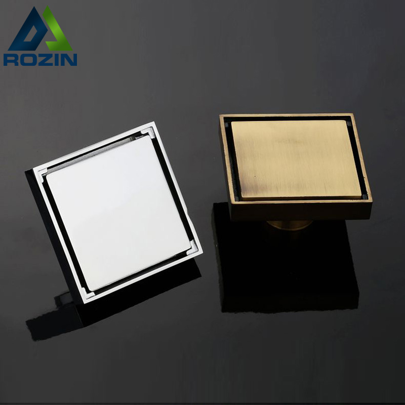 Free Shipping Newly Square Brass Shower Floor Drain 10cm Bathroom Antique Chrome Floor Waste Grate Drain free shipping deodorant floor waste drain oil rubbed bronze 10cmshower floor cover sink grate