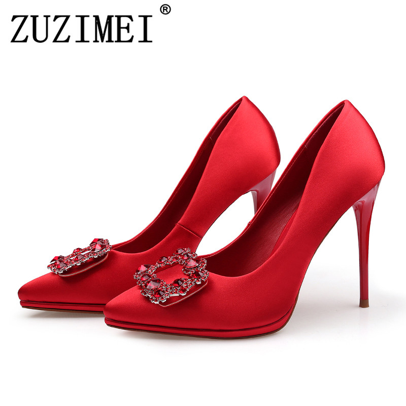Womens Dress Shoes With Heel Crystal Shoes Party High Heel Shoes Wedding Shoe Crystal Platform Heels Stilettos Zapatos