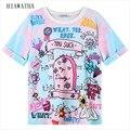 Hiawatha Estilo Harajuku Mujeres de la Camiseta de Dibujos Animados Letras Impresas Camisetas Del O-cuello de Manga Corta de Verano Tops Camisetas de Alta Calidad T1344