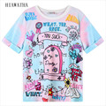 Hiawatha Estilo Harajuku T Shirt Mulheres Letras Dos Desenhos Animados Impresso Camisetas O-pescoço Manga Curta Verão Tops Tees Alta Qualidade T1344