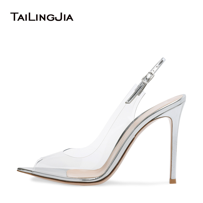 Sexy Pointed Peep Toe High Heel Clear Pumps for Woman Heeled Pointy Slingback PVC Transparent Shoes Ladies Summer Stiletto Heels