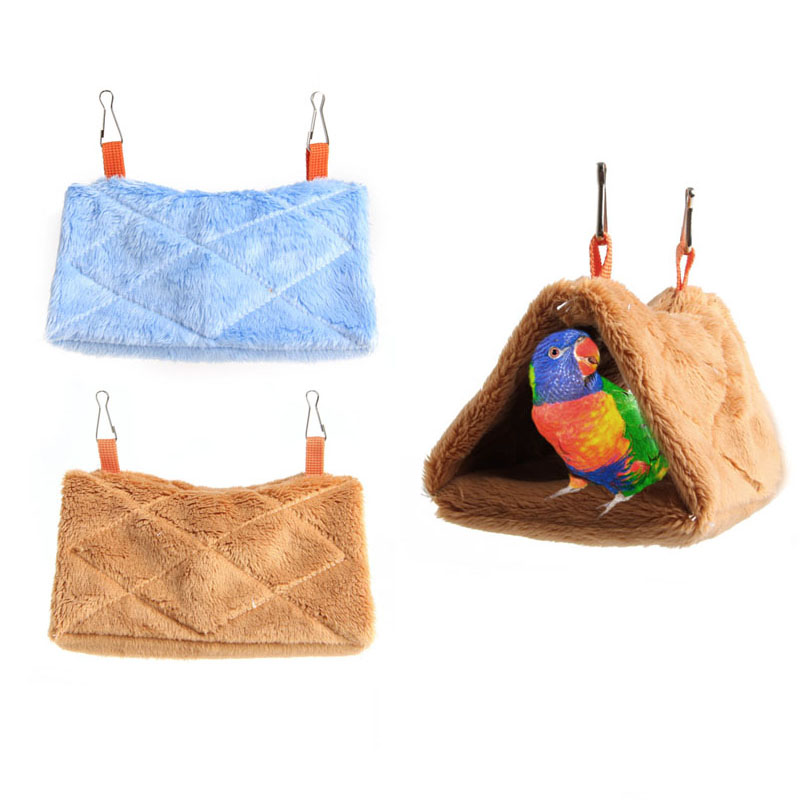 Plush Parrot Hammock Hanging Cage Cave Snuggle Soft Hut Tent Bed Bunk Bird Pads