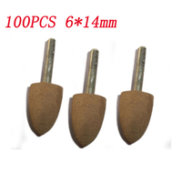 100pcs 6*14MM Tapered Grinding Head Abrasive Mounted Point Metal Glass Polishing Grinders Dremel Accessories Abrasive Tool