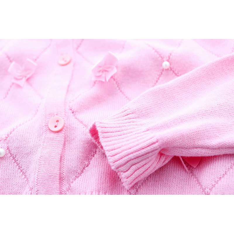 Lolita Girls Sweaters Solid Long Sleeve Clothes Pearl Children Sweaters Coats O Neck Sweater Cardigan Kids Clothes With Bows (9)
