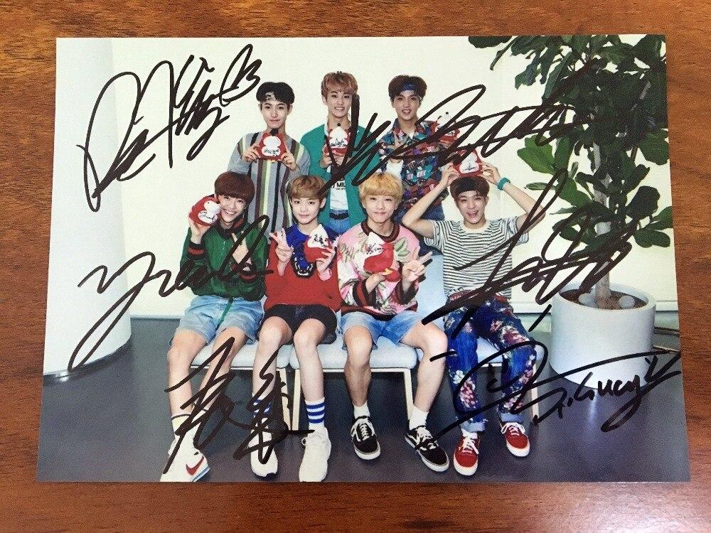 Signée à la main NCT 2018 groupe autographiée photo 5*7 livraison gratuite K-POP 092018
