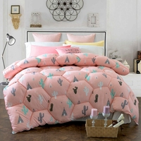 Pink Home Comforter Cartoon Cactus Patterns Cheap But Comfortable Polyester Quilt On Bed Design For Adults