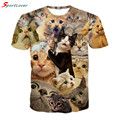 Sportlover 2016 nuevo sorprendido gatos camiseta mullido mimoso aterrorizado cat caras impresionante mujeres de la camiseta de los hombres 3d camiseta de verano