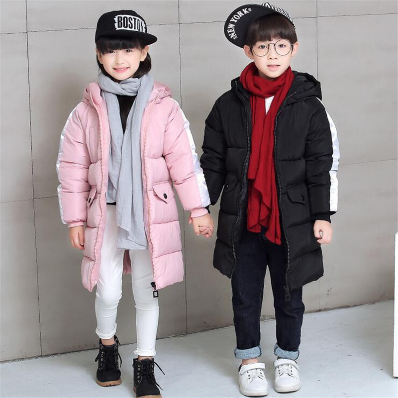 Winter Jackets For Girls Boys Hooded Thicken Parkas Solid Color Outcoats Children Clothing 2018 New Fashion Long Parkas Plus 1pcs free shipping 2015 new autumn and winter tot solid color knitting wool hat boys girls ski cap children skullies beanies